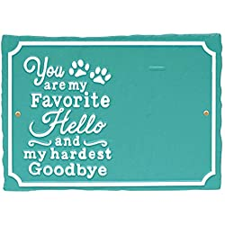 Whitehall My Favorite Hello Pet Photo Wall Sign - Decorative Keepsake Plaque with Animal Paw Prints and Picture Clip - Deepsea Blue
