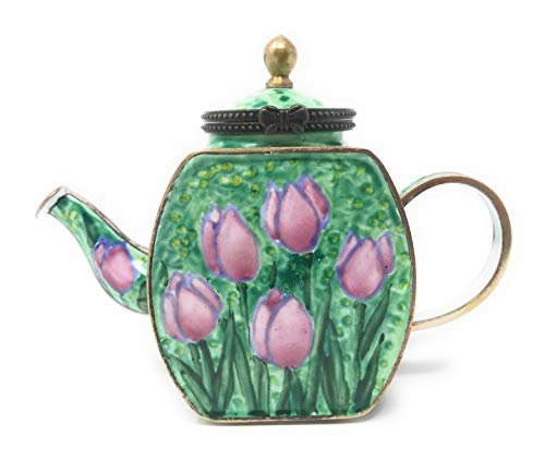 Kelvin Chen Pink Tulips Enameled Miniature Teapot with Hinged Lid, 4.25 Inches Long ()