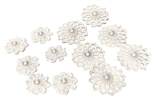 (Satin White Lace Embellishment Flowers with Faux Pearl, Apparel, Ring Pillows, Shadow Boxes, Veils, Elegant Blooms & Things, 12 pcs.)