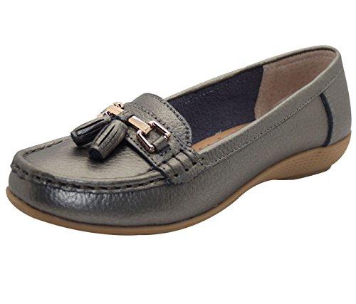 Jo & Joe Damenschuhe aus Leder, flache lässige Damenslipper, bequeme Schuhe mit niedrigem Keilabsatz, Arbeitsschuhe Gun Metal