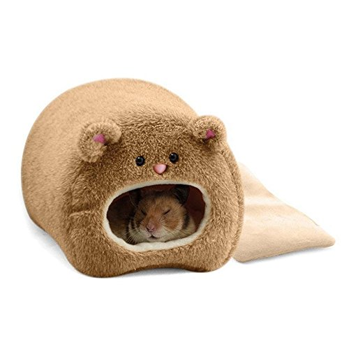 TOOGOO Rats Hamster Winter Warm Hanging Cage Hammock Cute Bear House with Bed Mat for Small Furry (Rats Sugar Gliders)