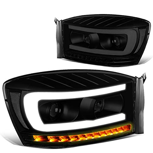 Pair Tinted Housng Clear Side LED DRL+Sequential Turn Signal Headlight Lamps for 06-09 Dodge Ram Truck