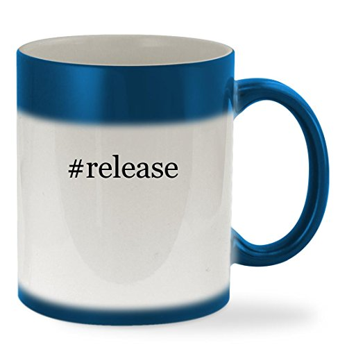 #release - 11oz Hashtag Color Changing Sturdy Ceramic Coffee Cup Mug, Blue