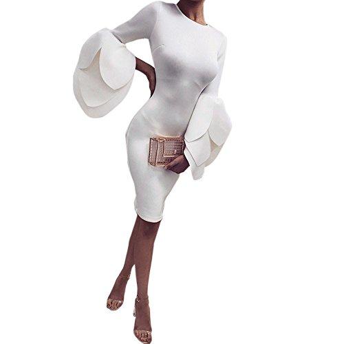 Kollmert Women Sexy Petals Sleeves Slim Dress Ladies Evening Party Club Mini Dress (M, White)