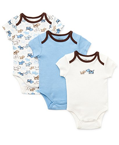 Little Me Baby-Boys Newborn Cute Puppies 3 Pack Bodysuit, Blue/Multi, 3 Months