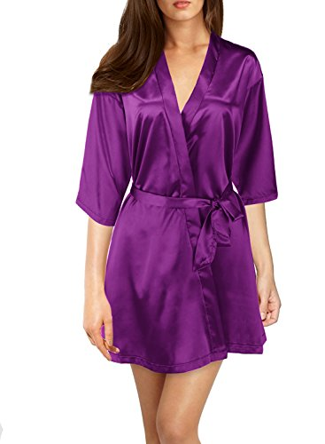 (Mulysaa Women's Kimono Robes with Oblique V-Neck 3/4 Sleeves Short Satin Bridesmaid Robes (X-Large, Purple))