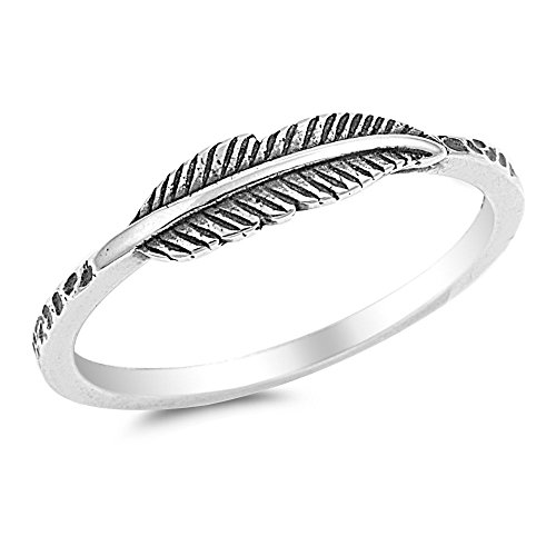 925 Sterling Silver Classic Sideway Feather Ring 4MM Size 10 - Sterling Silver Quill