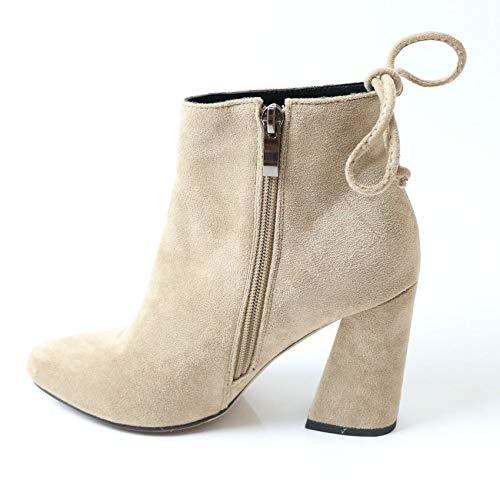 HAOLIEQUAN Chaussures Femmes Boots Élastique Tissu Stretch Sabot Talon Noir Haut Mode Femmes Chaussures Parti Chaud Noir Talon Taille 34-43 43|Abricot 69072f