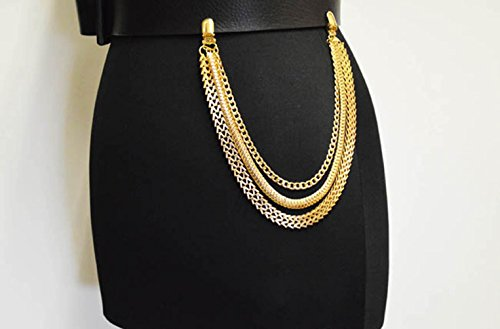 NYFASHION101 Fashionable Triple Strand Multi Style Link Jean Chain, Gold-Tone