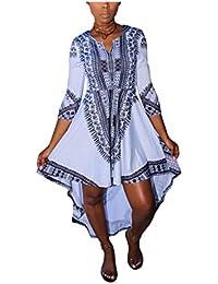Eloise Isabel Fashion Mulheres verão vestidos moda vestidos com decote em v meia manga de impressão africano dashiki dress dianteiro curto tempo de volta
