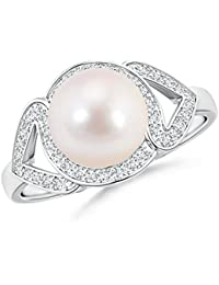 Angara Akoya Cultured Pearl Spiral Halo Ring with Diamonds bS2Kv