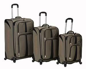 Rockland Luggage Eclipse Spinner Polo Equipment 3 Piece Luggage Set, Khaki, One Size