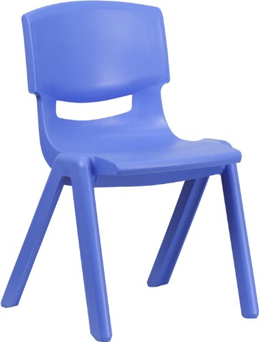 Flash Furniture YU-YCX-005-BLUE-GG Blue Plastic Stackable School Chair with 15-1/2-Inch Seat Height (Flash Furniture Chairs)