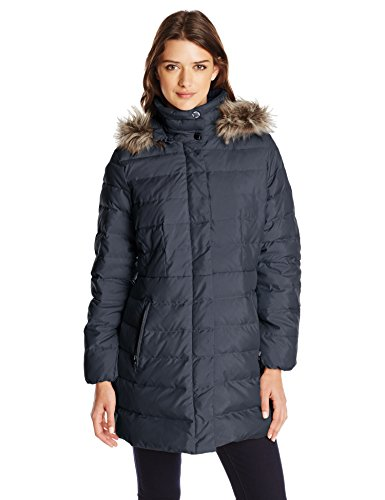 Coat Down Navy Hood Fleet Fur with Faux Street Women's Classic Ltd OIHXq