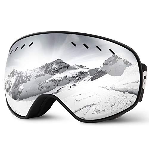 Glymnis Masque de Ski Lunettes de Ski Hommes Femmes Anti-buée OTG Anti-UV400 Mousse Respirante à 3 Couches pour Activité Extérieur
