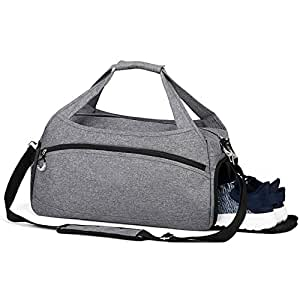 Sports Gym Bag with Shoes Compartment,Waterproof Travel Duffel Bag for Men and Women(Small Gray)