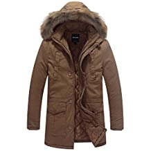 Wantdo Men's Warm Parka Jacket with Detachable Faux Fur Hood