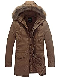 Wantdo Men's Warm Parka Jacket with Detachable Faux Fur Hood