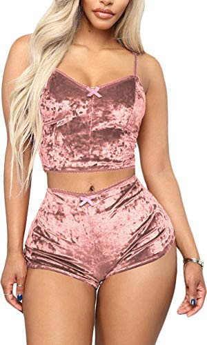 Womens Sexy Velvet 2 Pieces Romper Club Outfit Sleeveless Activewear Camisole and Shorts Jogging Set Tracksuit Nude Pink