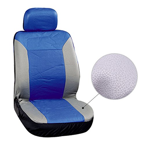 Car Seat Cover,Stretchy Universal Seat Cushion w/Headrest/Steering Wheel/Shoulder Pads 100% Breathable Automotive Accessories with Durable Washable Embossed cloth for Most Cars Trucks Vans(Blue/Gray)