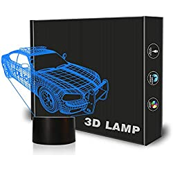 Police Car Night Light Lamp Toy Gift for Boys Bedroom Decorations | 3D Illusion Desk Lamp with Touch Switch and 7 Colors Changing | Perfect Birthday Party Supplies Gifts for Kids Children
