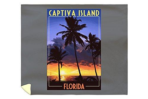 Lantern Press Captiva Island, Florida - Palms and Sunset 46691 (88x104 King Microfiber Duvet Cover)