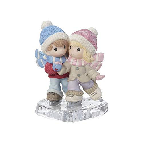 Skating Couple - Precious Moments I Am S-mitten By Your Love Couple Ice Skating Bisque Porcelain Glass Figurine 181041