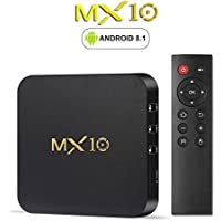 Omikai R-TV Box MX10 4GB DDR3 RAM 64GB ROM Rockchip 3328 Android 8.1 Quad Core 4K USB 3.0 UHD WiFi H.265 TV Box Media Player