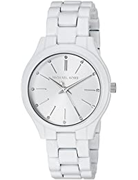 Womens Slim Runway Quartz Stainless Steel Casual Watch, Color:White (Model