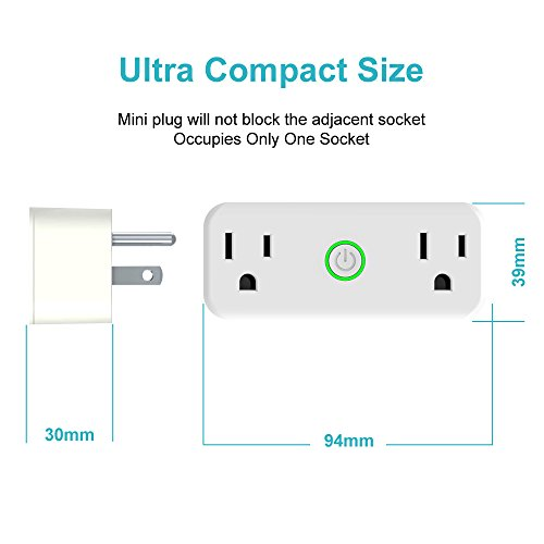 AOCOBOOK Smart Socket Dual Outlet Compatible with Alexa and Google Assistant,Remote Control Outlet with Timing Function,No Hub Required,Mini smart plug 2 in 1 by AOCOBOOK (Image #2)