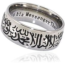 ZKDC muslim Allah Engraved Shahada stainless steel ring islam Arabic God Messager