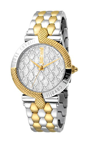 Just Cavalli Women's JC1L047M0125 Carattere Silver Dial With Two Tone Stainless-Steel Band Watch.