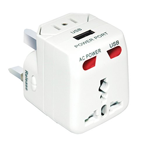 Portable All In One Power Plug Adaptor Worldwide Outdoor Travel Adapter Wall Ac Charger With Usb Charging Port For Usa Eu Uk Aus  White Usb