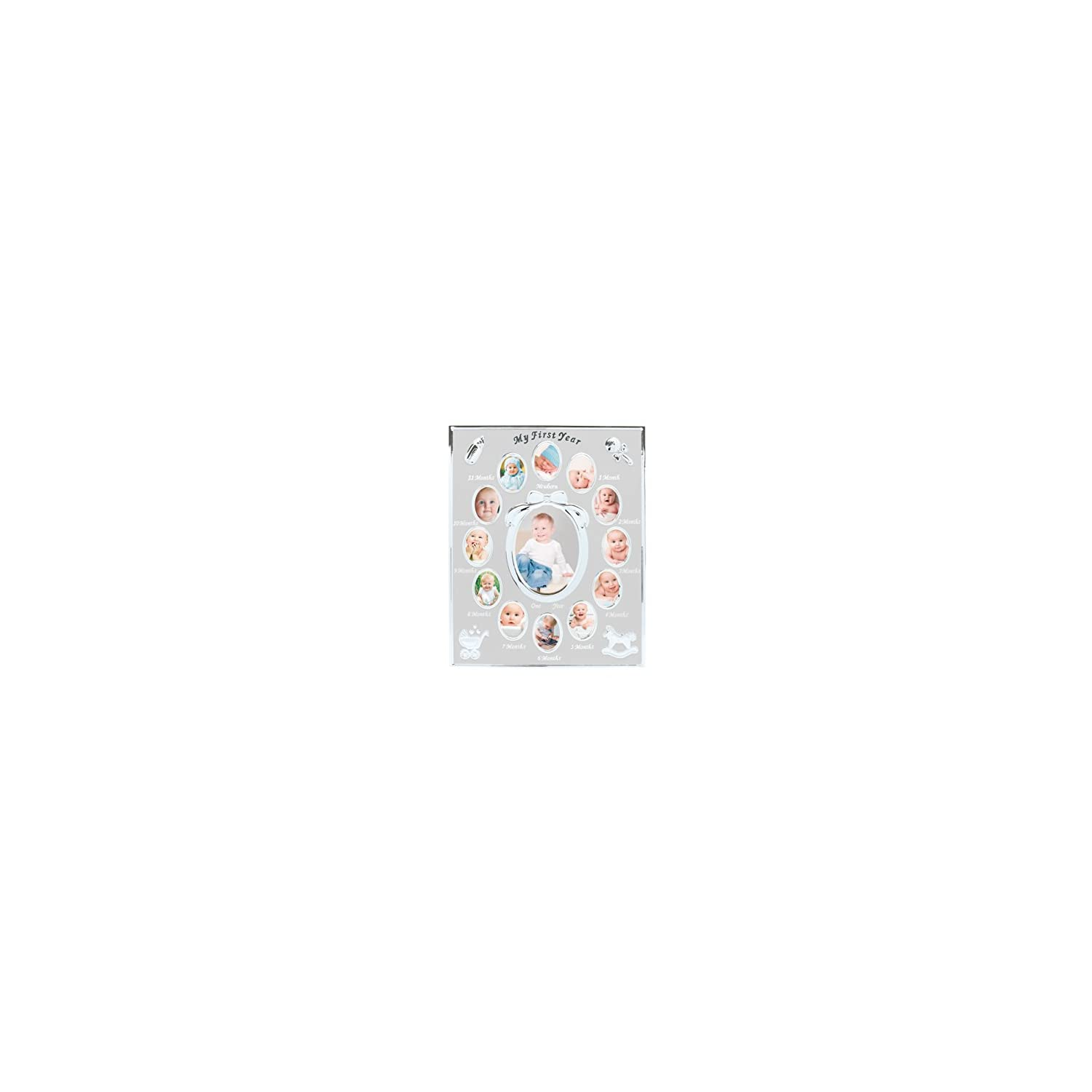 Tiny Ideas Baby's First Year Picture Frame, First Year by Month, Newborn Baby Registry, Silver