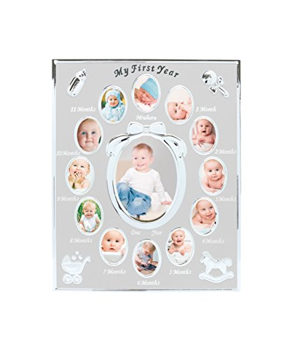 (Tiny Ideas Baby's First Year Keepsake Picture Photo Frame, Silver)
