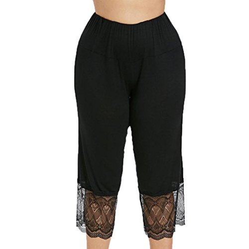 iTLOTL Women Casual Plus Size High Waisted Lace Panel Leggings Pant
