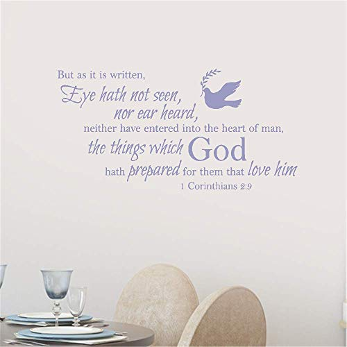 Wall Sticker Quote Wall Decal Funny Wallpaper Removable Vinyl But As It is Written Eye Hath Not Seen Nor Ear Heard Neither Have Entered Into The Heart of Man for Living Room Bedroom