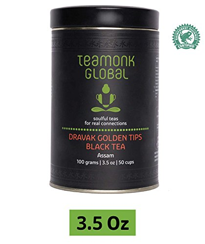 Assam Organic Black Tea | 100% Natural Loose Leaf Tea | Dravak Second Flush Black Tea for Energy Booster | No Additives, USDA Organic Certified - 3.5oz (50 Cups)