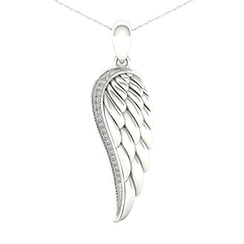- De Couer S925 Sterling Silver 1/20ct TDW Diamond Angel Wing Necklace (I-J, I2)