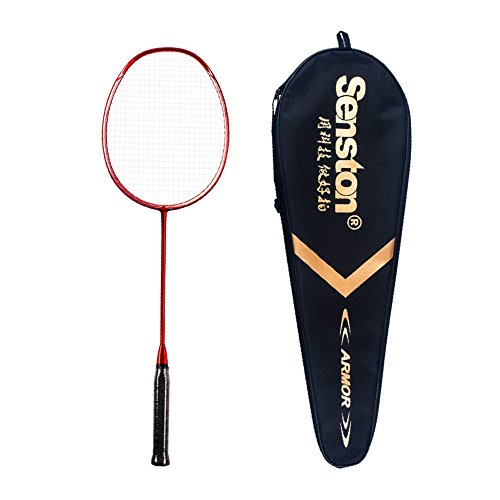 Single Graphite - Senston N80 Graphite Single High-Grade Badminton Racquet, Professional Carbon Fiber Badminton Racket, Carrying Bag Included