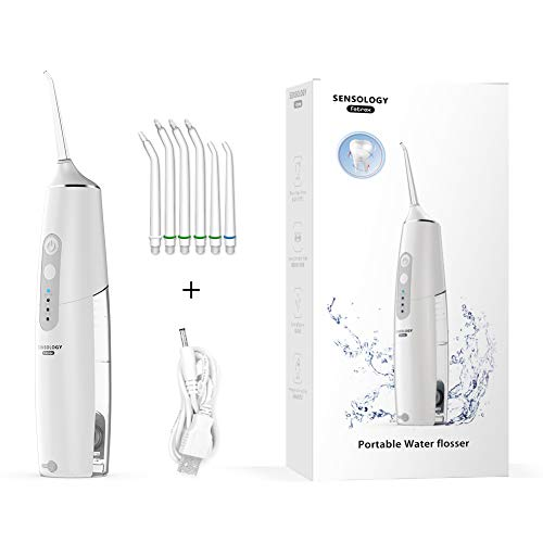 SENSOLOGY Cordless Water Flosser Rechargeable Teeth Cleaner Portable Travel Water Dental Flosser Oral Irrigator Flossing with 6 Water Floss Jet Nozzles and 3 Modes Normal,Soft,Pulse (White)