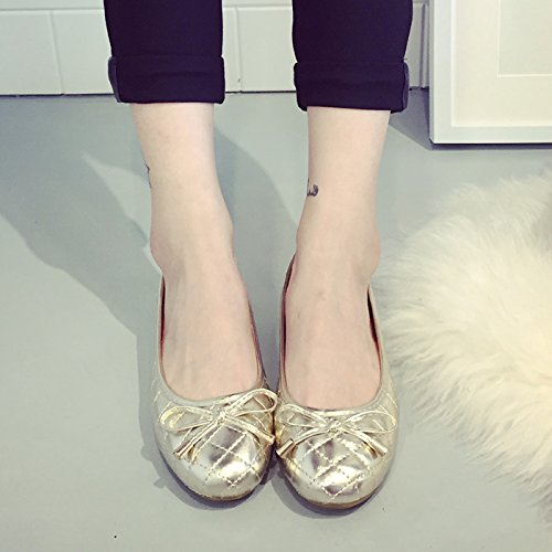 YFF Spring new new new shoes gold round bow bow shallow flat flat with a single shoes female boat shoes large yards,gold... B072XN2RW3 Shoes df834f