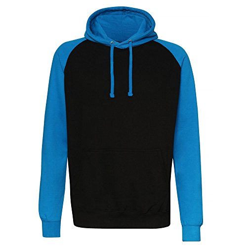 Awdis Just Hoods Adults Unisex Two Tone Hooded Baseball Sweatshirt/Hoodie (L) (Jet Black/Sapphire Blue)