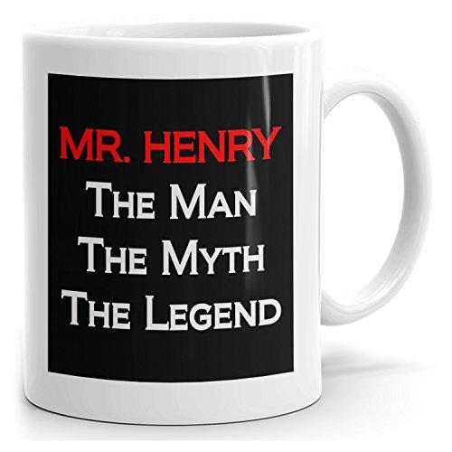 MugMax The Man the Myth the Legend D9 Ceramic Coffee Mug Personlized Mr. Henry White 15 oz