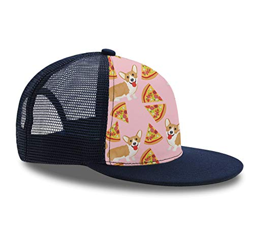 Welsh Corgi Pizza Pink Snapback Hat Unisex Trucker Hat Hip Hop Plaid Flat Bill Brim Adjustable Baseball Cap