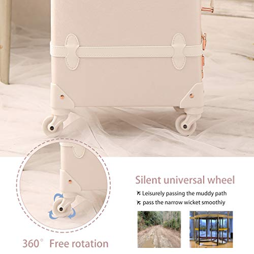 ba05a92d441f Travel Vintage Luggage Sets Cute Trolley Suitcases Set Lightweight Trunk  Retro Style for Women Rose White 20