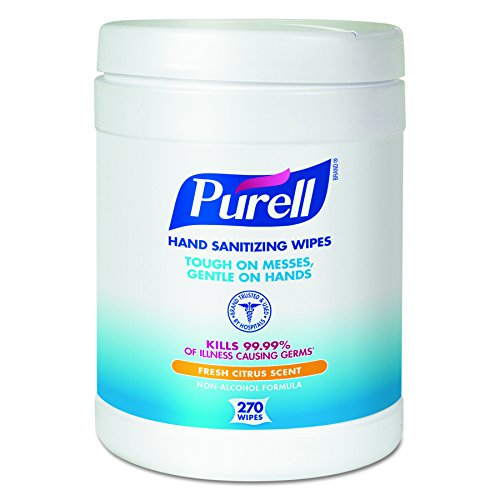 Antimicrobial Hand Sanitizer Wipes - PURELL Hand Sanitizing Wipes - Disinfecting Wipes with Fresh Citrus Scent, 270 Count in Eco-Fit Canister (Case of 6) - 9113-06