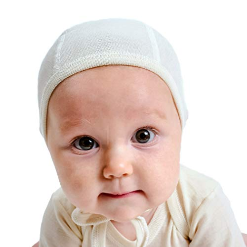 Silk Cap Wool (Pilot-Style Baby Cap in organic woo/silk blend, (size 1 - 0-6 mo))