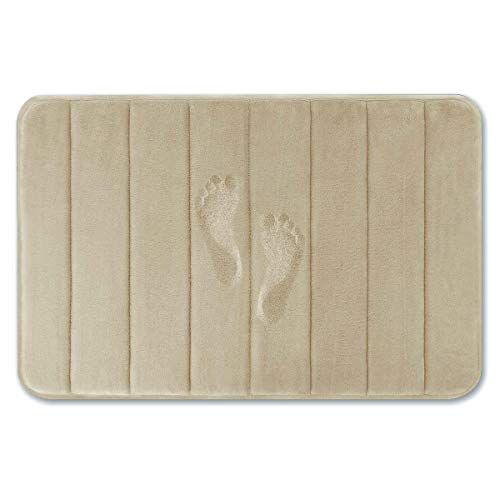 Yimobra Memory Foam Bath Mat Large Size 31.5 by 19.8 Inches, Maximum Absorbent, Soft, Comfortable, Non-Slip, Thick, Machine Wash, Easier to Dry for Bathroom Floor Rug, Camel