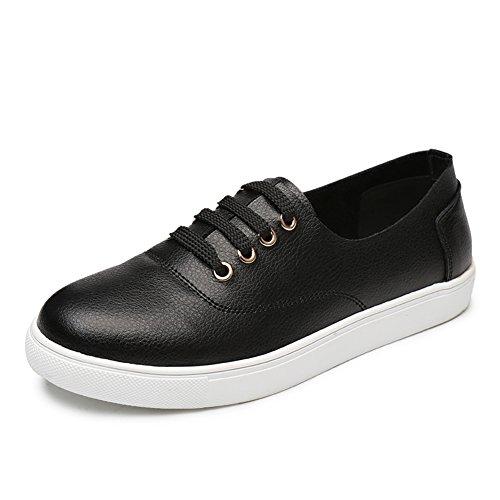 los zapatos blanco pequeño en la muchacha caída/Versión coreana de zapatos de mujer planos Joker/zapatos de viento de la escuela del cuero de cuero estudiante A